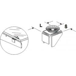 podpěra skleněné police, délka 2cm, šířka 2cm