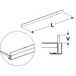 čelní opěra nízká (plast bílý), délka 100cm, výška 2cm