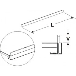 čelní opěra nízká (plast bílý), délka 125cm, výška 2cm
