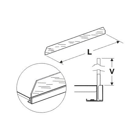 čelní opěra vysoká (sklo), délka 62,5cm, výška 7,5cm