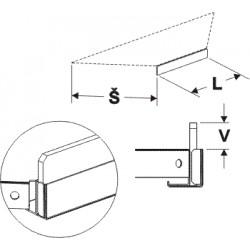 čelní opěra nízká koutová 90° (plast bílý), délka 44,5cm, šířka