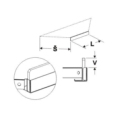 čelní opěra nízká koutová 90° (plast bílý), délka 30,5cm, šířka