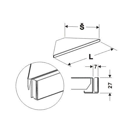 držák cenovky rohový 90°, délka 68cm, šířka 40cm