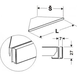 držák cenovky rohový 90°, délka 82cm, šířka 50cm