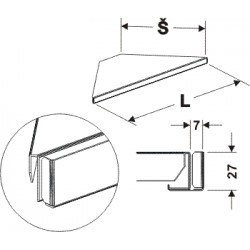 držák cenovky rohový 90°, délka 96cm, šířka 60cm