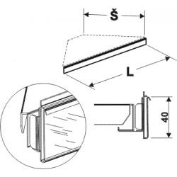 cenovková lišta rohová 90°, délka 39,5cm, šířka 20cm