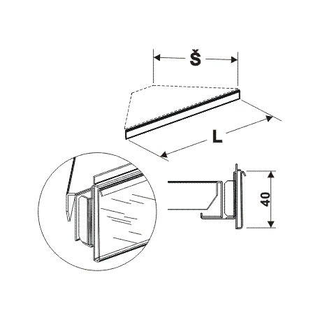 cenovková lišta rohová 90°, délka 53,5cm, šířka 30cm
