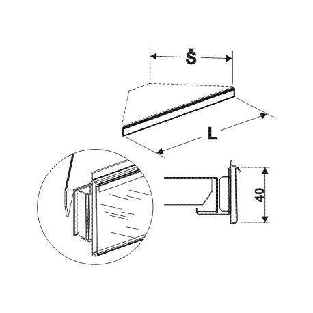 cenovková lišta rohová 90°, délka 81,5cm, šířka 50cm