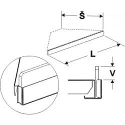 čelní opěra nízká rohová 90° (plast bílý), délka 39,5cm, šířka 2