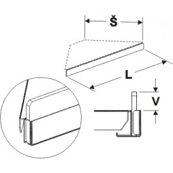 čelní opěra nízká rohová 90° (plast bílý), délka 67,5cm, šířka 4