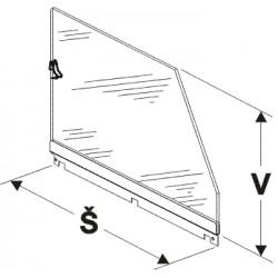 bočnice police vysoká (plexisklo), šířka 30cm, výška 25cm