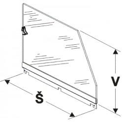 bočnice police nízká (sklo), šířka 50cm, výška 25cm