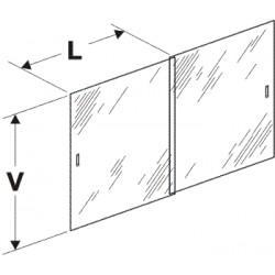 dvířka vitríny posuvná (pár), délka 50,5cm, výška 56cm