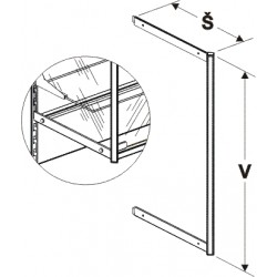 nosník vysoké vitríny, šířka 40cm, výška 160cm