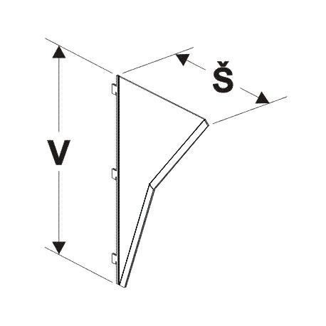 nosník lomeného zrcadla, šířka 35cm, výška 61,5cm