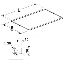 deska zastřešení rovná s osvětlením, délka 100cm, šířka 62,5cm