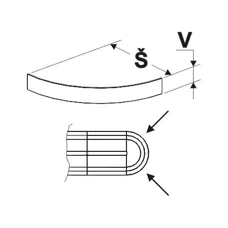 čelo soklu půlkruhu, šířka 50cm, výška 10cm