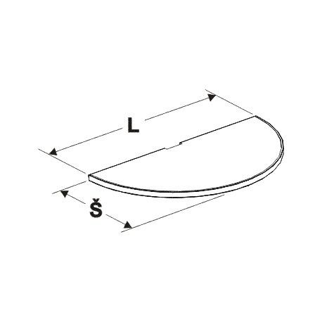 police půlkruhu, délka 108cm, šířka 50cm