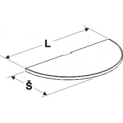 police půlkruhu, délka 128cm, šířka 60cm