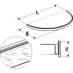 držák cenovky půlkruhu, délka 68cm, šířka 30cm