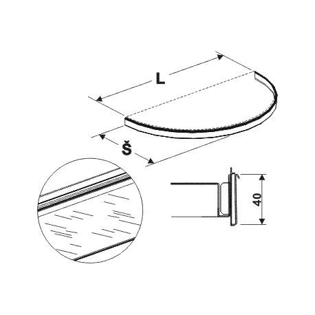 cenovková lišta půlkruhu, délka 88cm, šířka 50cm