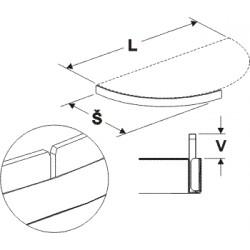 čelní opěra nízká půlkruhu (plast bílý), délka 68cm, šířka 30cm
