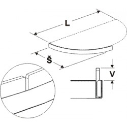 čelní opěra nízká půlkruhu (plast bílý), délka 88cm, šířka 40cm