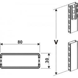 stojina zastřešení 80x30mm, výška 220cm