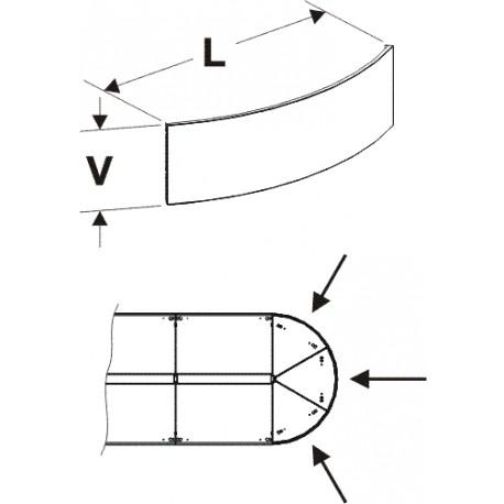 čelo půlkruhového zastřešení (1/3), délka 67,5cm, výška 20cm