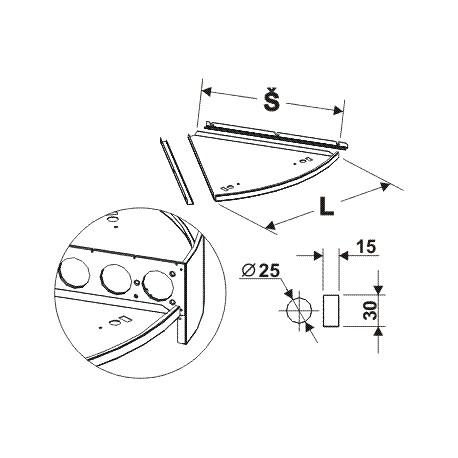 deska půlkruhového zastřešení s osvětlením (1/3), délka 65cm, ší