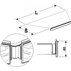 cenovková lišta lichoběžníku, délka 68cm, šířka 30cm