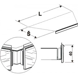 cenovková lišta lichoběžníku, délka 108cm, šířka 50cm