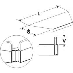 čelní opěra nízká lichoběžníku (plast bílý), délka 68cm, šířka 3