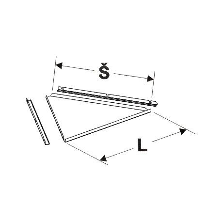deska lichoběžníkového zastřešení (1/3), délka 65cm, šířka 62cm