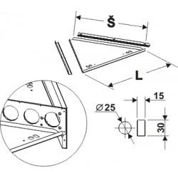 deska lichoběžníkového zastřešení s osvětlením (1/3), délka 65cm