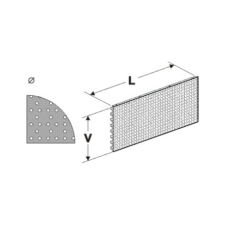 zadní panel koutový 90° děrovaný S, délka 88cm, výška 40cm
